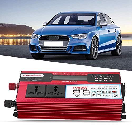 WYZXR Inversor de Corriente para automóvil, Adaptador de vehículo LCD Digital 1000W Inversor de Corriente para automóvil Cargador USB Modificado de Onda sinusoidal Convertidor de 12V a 220V