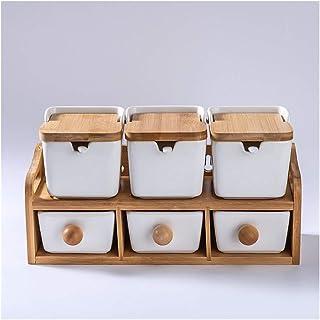 JYSLI Boîte de rangement en plastique créatif en céramique noire en céramique avec couvercle pour condiments en bambou Sal...