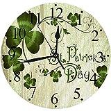 LUHUN Reloj de Pared Moderno,Celebración del trébol del trébol irlandés Celta del día de St Patrickreloj de Cuarzo de Cuarzo Redondo No-Ticking para Sala de Estar 30 cm