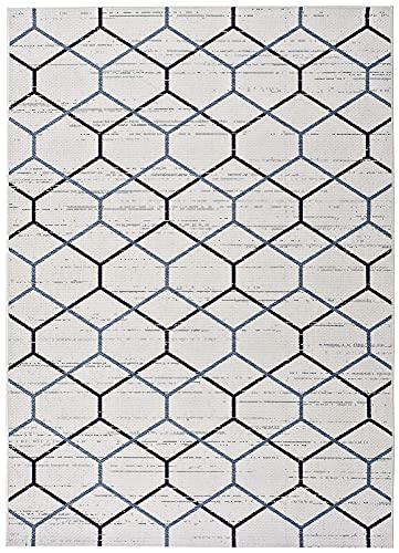 Universal Alfombra Étnica con Motivos Geométricos Indoor-Outdoor En Blanco y Azules, Elba Geométrica Blanco, 80 x 150 cm