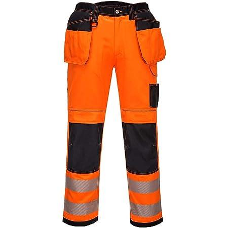Portwest PW3 Hi-Vis Holster Work Trouser, Trouser Length: Regular, Color: Orange/Black, Size: 48, T501OBR48