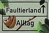 Close Up Faultierland Fußmatte - Faultier lustige Schmutzfangmatte - 60 x 40 cm - Fußabtreter