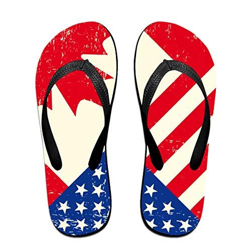 Iop 90p Gebrochene amerikanische und kanadische Flaggen Flip Flops Hausschuhe Strand Sandalen Pool Schuhe