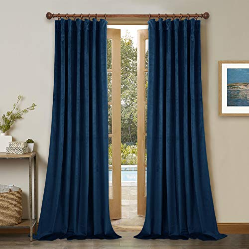 StangH Navy Blue Velvet Curtains 84 inches - Thermal Insulated Winter Curtains for Living Room Back Tab Blackout Velvet Drapes for Kids Room / Patio Doors, Wide 52 x Long 84 inches, 2 Panels