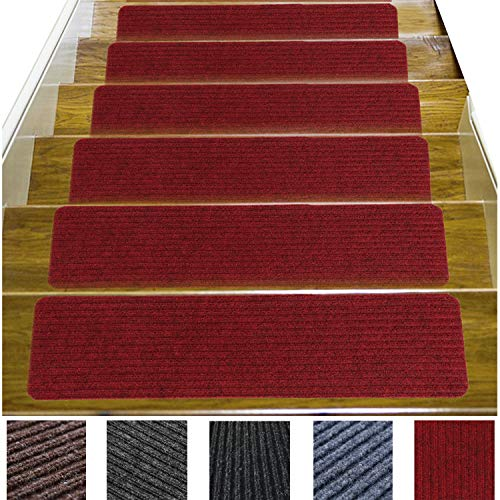 14 Pack-(8'x30'),Stair Treads Carpet Indoor, Anti Slip Stair Mats Collection, Skid Resistant Rubber Backing for Child Proofing/Pet Safety/Elderly Safety, Dark Red