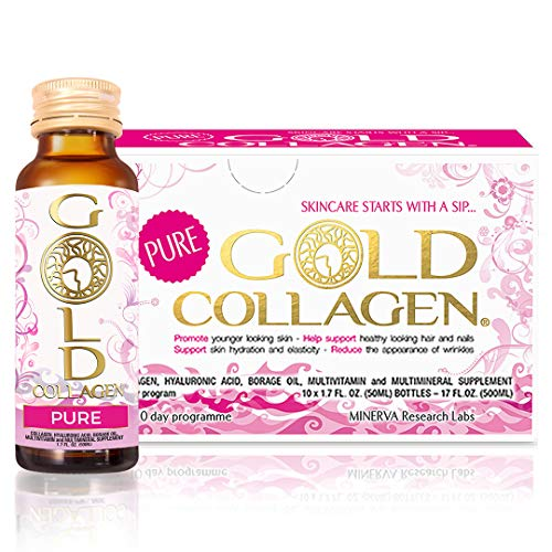 Pure Gold Collagen | The Original #1 Liquid Collagen Anti Aging Supplement | Hydrolyzed Marine Collagen Drink with Hyaluronic Acid, Borage Oil, Vitamins & Minerals for Hair Skin and Nails | 10 Day