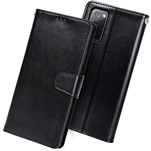 Migeec Handyhülle Kompatibel mit Samsung Galaxy S20 FE 5G Leder Hülle Tasche Flip Cover Schutzhülle - Schwarz