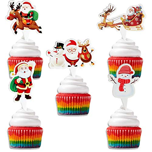 Christmas cupcake toppers set of 100, for Christmas Theme Party Cupcake Mini Cake Decorations, 5 Style set of 100Pieces for Christmas Decoration Supplies
