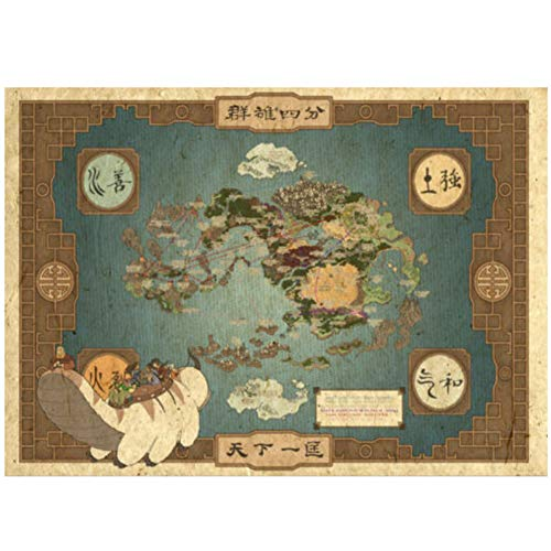 Posters en prenten Hot Avatar The Last Airbender World Map Art Poster Canvas Painting Home Decor-50x70cm No Frame