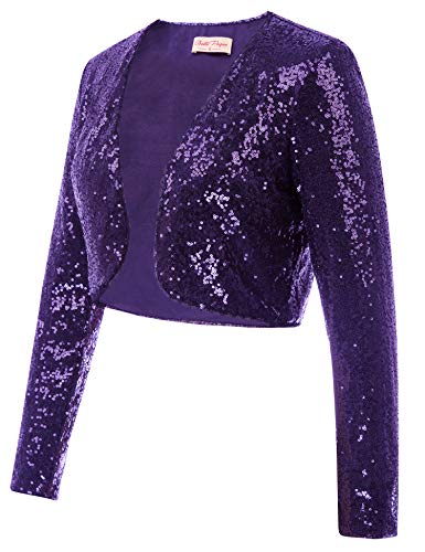 Belle Poque Women's Long Sleeve Shrug Bolero Sequin Jacket Open Front Sparkly Glitter Cardigan for Dress (Purple,L)