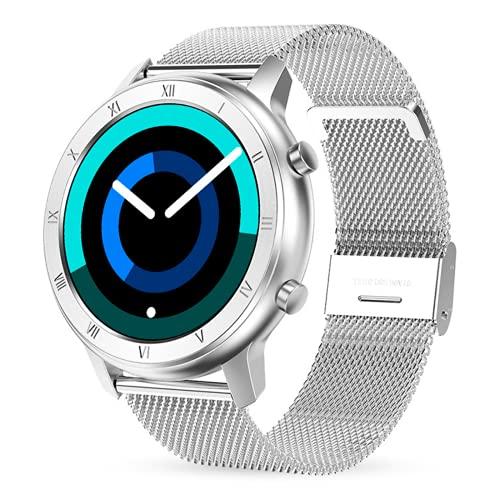 Reloj Inteligente Mujer Hombre, Pulsera Actividad, Smart watch con Monitor de Pasos, Calorías, Sueño y Ritmo Cardíaco, Reloj Inteligente Impermeable IP68, Reloj Deportivo para iOS y Android (PLATA)