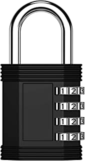 ZHEGE Combination Lock, 4 Digit Lock for Locker, Gym Locker and Employee Locker, Combination Padlock Outdoor, Hasp and Storage - Easy to Set Your Own Keyless Resettable Combo Lock