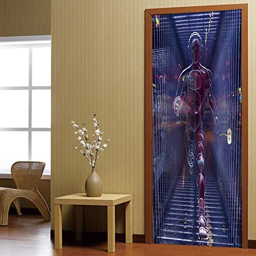 DFKJ Divertidas Pegatinas de Puerta de Cabina de teléfono roja 3D para Sala de Estar habitación de niños decoración autoadhesiva calcomanías Mural de renovación A17 77x200cm