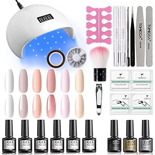 TOMICCA Gel Nagellack Set mit UV Lampe, 6 Farben Nude Rosa UV Nagellack Base und Top Coat Matte Glänzend Gel Nail Set Geschenk Pastel
