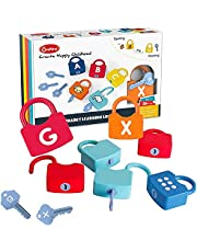 Kids Learning Locks, Educational Numeric Locks Kids Unlock Toys Preschool Learning Alphabet Letters Set with Keys Numbers Matching Counting Games Colorful Math Toys for Children Toddlers (Numbers)