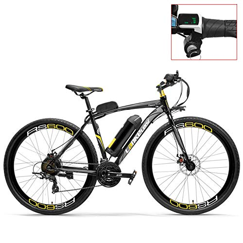 LANKELEISI RS600 700C Electric Bike, 36V 20Ah Battery, Both Disc Brake, Aluminum Alloy Frame, Endurance Up To 70km,20-35km/h, Road Bicycle. (Grey-LED, Standard)