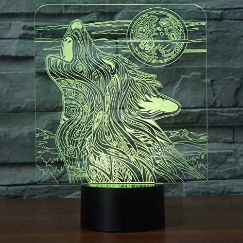 Wangshengchao Knurrte Wolf 3D Nachtlicht USB 7 Farben Ändern Tier LED Berührungsschalter Schreibtisch Tischlampe Als Heimtextilien,Waage