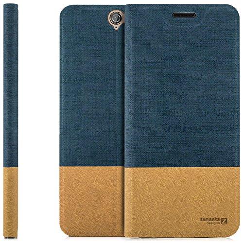 zanasta Designs Tasche HTC One A9 Hülle Flip Hülle Slim Schutzhülle Handytasche mit Kartenfach, Standfunktion | Blau