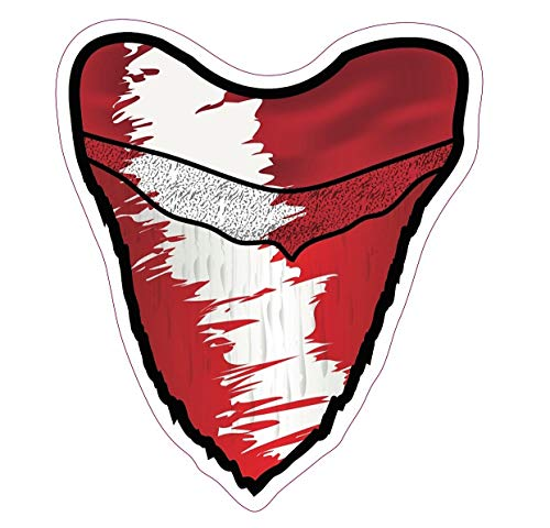 "Deep Sea Fossils Scuba Diving Vinyl Decal Car Sticker with Megalodon Shark Tooth Diver Down Flag - 5-1/2"" x 4-7/8"" (Red Distressed)"