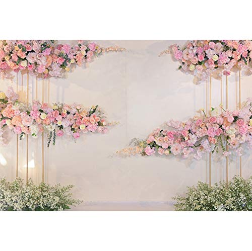 Wedding White Curtain Blossom Floral Garland Wall Party Photography Backgrounds Decoration Backdrops For Photo Studio A5 9x6ft/2.7x1.8m