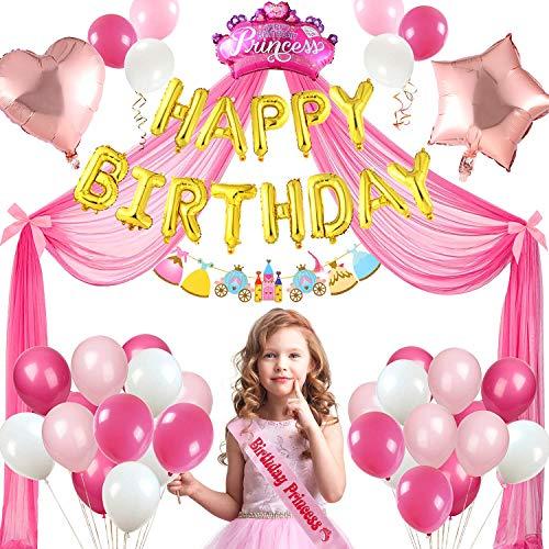 Tacobear Decoracion Cumpleaños Niña con Aluminio Globos de Cumpleaños Banda Pancarta Feliz Cumpleaños Princesa Banner de Papel Globo de Látex Cinta Rosa Tul Decoración para Fiesta Cumpleaños