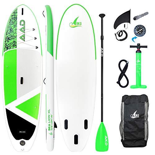 """AKD Germany Sea Lion 10'6""""XL Standup Paddel Board (Verde), Inflable, Paleta Deportiva de Aluminio Ajustable, Bomba de Alta presión con manómetro, Mochila y Correa"""