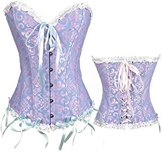 SYMG Ladies Skinny Corsets with Breast Cups, European American Court Corsets, Sexy Corsets, Wedding Gowns, Waistbands, Body Shaping Vests shapewear women (Color : Blue, Size : 6XL)