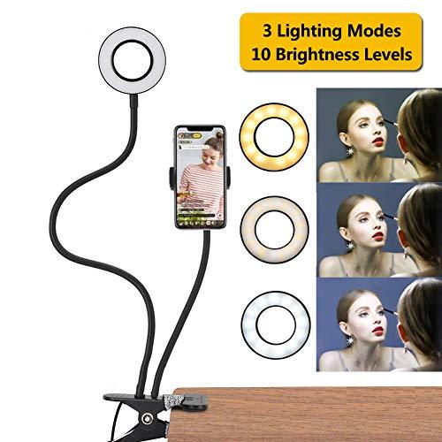 LED Selfie Ringlicht mit Handyhalter, 2 in 1 Webcam Licht Ringleuchte Halterung für Live Stream Make up, 3 Leuchtmodi & 10 Helligkeitsstufen Faule Lange Arme Handy Clip Halter