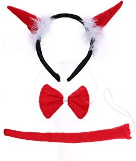Horn Costume Set Red Devil Horns Tail Bow Tie Costume Set Costume Accessory for Halloween Christmas Party Dress Up
