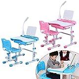MOMOJA Kinderschreibtisch mit Stuhl und Schublade, Schreibtisch für Kinder und Schüler (Pink)