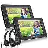 PUMPKIN 10.1' Reproductor de DVD Coche para Niño con 2 Auriculares y 2 Pantallas, DVD Portátil Reposacabezas de Coche, soporta Tarjeta SD y USB Región Libre