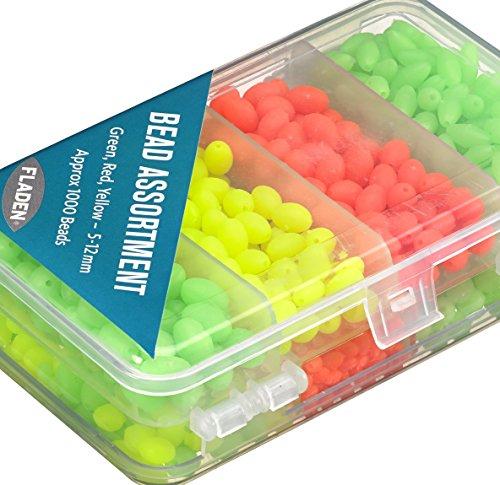 Fladen (1000Stück) grün, rot & gelb 5mm bis 12mm sortiert Soft Perlen in einer handlichen 2-seitige Tackle Box Set–Ideal für Marine Rig [15–3651]