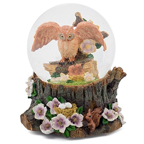 Elanze Designs Wise Owl 100MM Music Water Globe Plays Tune Music of The Night