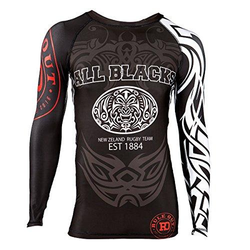 Rule Out Herren langärmliges Funktionsshirt. New Zealand Rugby Team Kompressionsshirt. All Blacks Rash Guard (Größe XLarge)