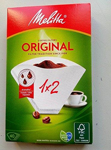 Melitta 6653095 Papel Filtro Cafetera 1x2, Blanco