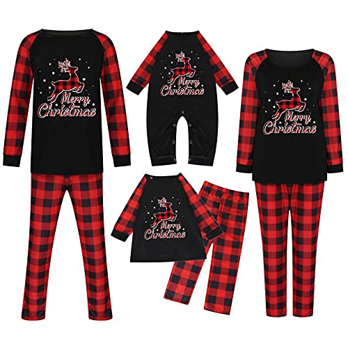 Christmas 2 Piece Pajamas for Family Matching Plaid Long Sleeve Tops and Pants Cute Loose Fit Elk Pattern Sleepwear Black