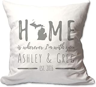 Pattern Pop Personalized Michigan Home is Wherever I'm with You Throw Pillow Cover - 17 X 17 Throw Pillow Cover (NO Insert) - Decorative Throw Pillow Cover - Soft Polyester