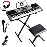 Costzon 61 Key Keyboard Piano with LCD Display, Electric Keyboard w/Full Size Keys, MP3 Input, 3 Teaching Modes, Recorder, 61 Percussions, Over Ear Headphones, Ideal for Beginner Adult (Black)