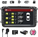 NVGOTEV Doppel Din Autoradio mit Navi Bluetooth, 8 Zoll Bildschirm 1080P, unterstützt Dashcam zurückfahrkamera, FM/AM/RDS, USB Anschluss, SD-Karte, Lenkradsteuerung, DVR, Aux