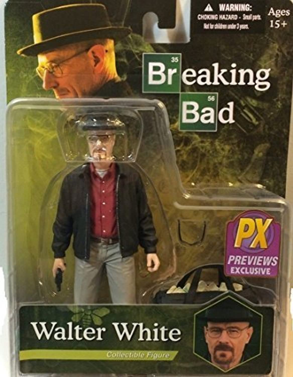 PX Previews Exclusive Breaking Bad Walter White Collectible Figure in Grey Khakis Including Bag of bluee Stuff by Breaking Bad