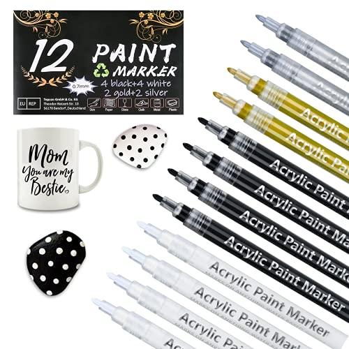 0.7mm Acrílico Pintura rotulador (4 negros 4 blancos 2 dorados 2 plateados),Rotuladores de pintura acrílicapara pintar