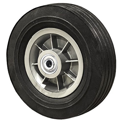 8' Flat Free Hand Truck Tire - Wheel 8' x 2.5' - 2.5' Centered Hub - 1/2' Axle Bore - 450 lb