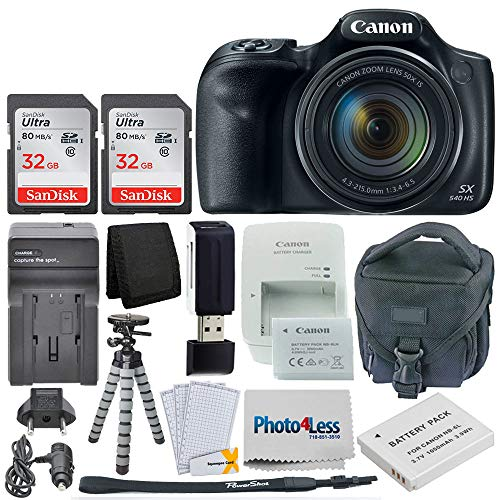 Canon PowerShot SX540 HS Digital Camera 50x Optical Zoom– Wi-Fi + 64GB Memory Card + Camera Bag + Flexible Tripod + Replacement Battery and Travel Charger + USB Card Reader + Screen Protectors + More