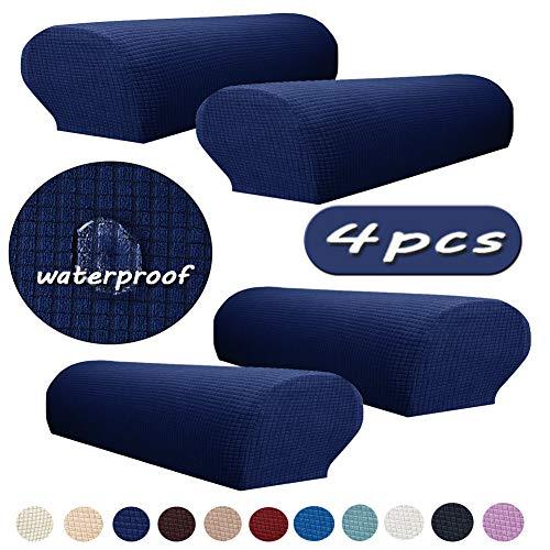 Ezoon Funda para reposabrazos de sofá al aire libre, impermeable, elástica, protector de brazo cuadrado de piel, para sillón reclinable de jardín, sofá, sofá, gato, azul marino, 4 unidades