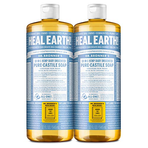 Dr. Bronner's - Pure-Castile Liquid Soap (Baby Unscented, 32 ounce, 2-Pack) - Made with Organic Oils, 18-in-1 Uses:...