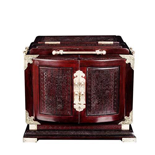 Stijlvolle eenvoud sieradendoos, natuurlijke mahonie sieraden opslag massief hout dressoir sieraden schatkist lades horloge doos dames sieraden geschenkdoos, ZH