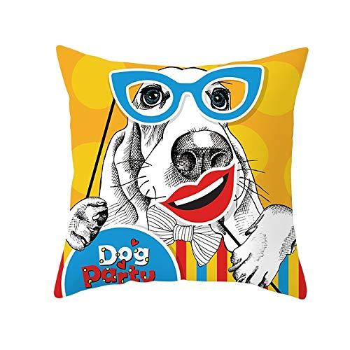 Fundas de Cojines Perro con gafas Funda de Almohada Cuadrado Terciopelo Suave con Cremallera Invisible para Sofá Cama Coche Dormitorio Decor para Hogar Throw Pillow Case Pillowcase+core,50x50cm R1950