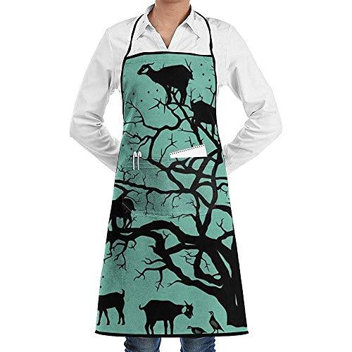 Pag Crane Cabra Argan Tree Kitchen Delantal a Cuadros con Tirantes y Tirantes Ajustables para Hombres y Mujeres con Corbatas Extra largas Diseño a Cuadros para cocinar