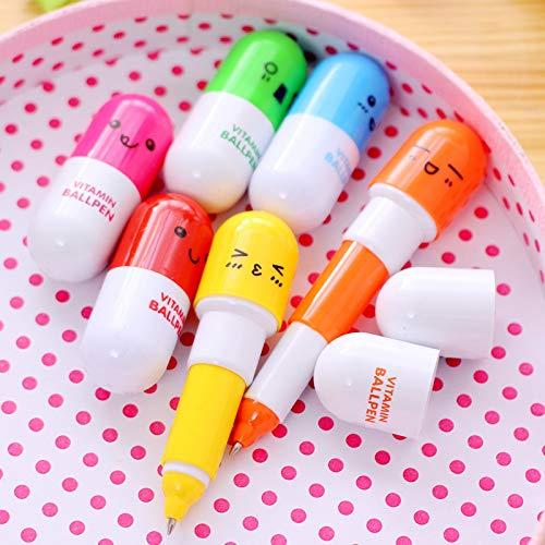 6 piezas Mini bolígrafo de píldora retráctil Bolígrafo Marcador telescópico de cápsulas de lujo Regalo de niño Color aleatorio