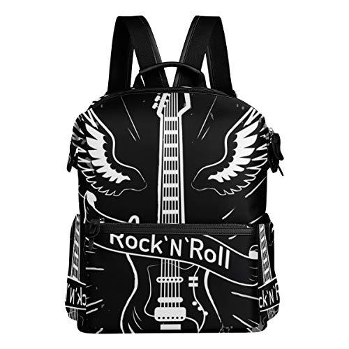 KIMDFACE Mochila,Rocknroll Escrito Cinta Imagen Guitarra Eléctrica,Bolsos para portátil Bolso de hombro...